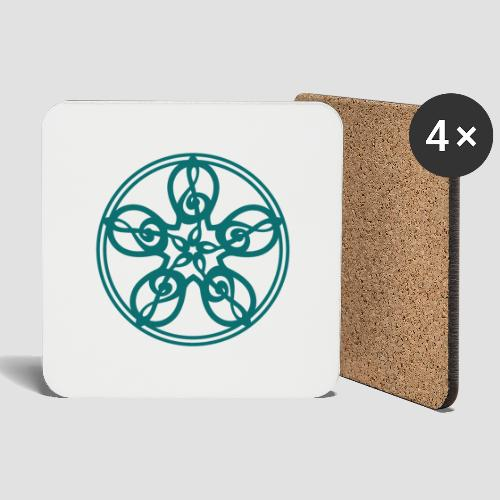 Treble Clef Mandala (teal) - Coasters (set of 4)
