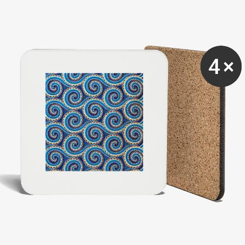 Spirales au motif bleu - Dessous de verre (lot de 4)