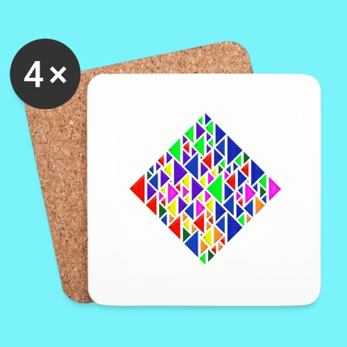 A square school of triangular coloured fish - Coasters (set of 4)