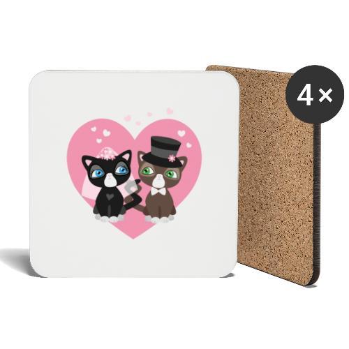 Katzen-Braut und Katzen-Bräutigam - Hochzeitspaar - Untersetzer (4er-Set)