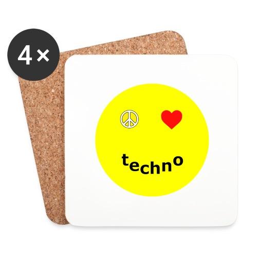 camiseta paz amor techno - Posavasos (juego de 4)