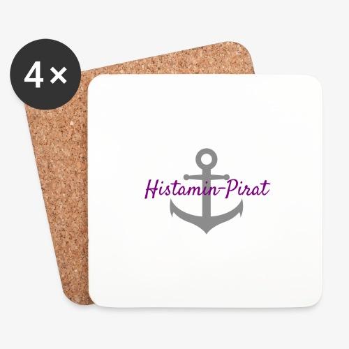 Histamin-Pirat mit Anker lila | Histaminintoleranz - Untersetzer (4er-Set)