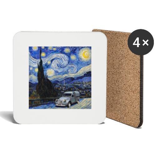 Notte stellata Van Gogh Citroen 2cv furgonette - Sottobicchieri (set da 4 pezzi)