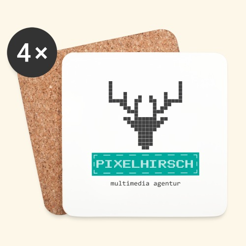 PIXELHIRSCH - Logo - Untersetzer (4er-Set)