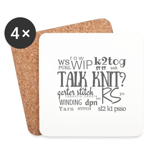 Talk Knit ?, gray - Coasters (set of 4)