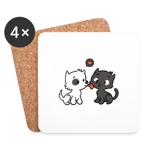 Hund liebt Katze - Untersetzer (4er-Set)