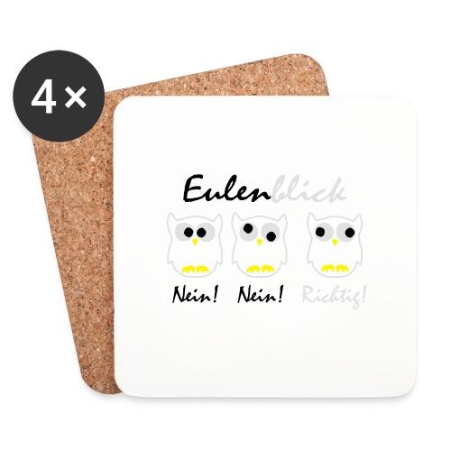 schwarz weiß gelb Eulenblick DE - Untersetzer (4er-Set)