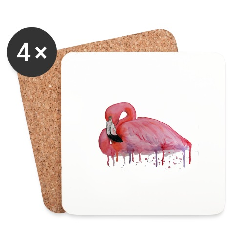 Pink Flamingo Watercolors Nadia Luongo - Sottobicchieri (set da 4 pezzi)