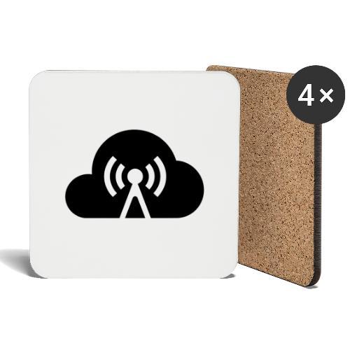 Cloud Cast Wolke schwarz mit Schriftzug - Untersetzer (4er-Set)