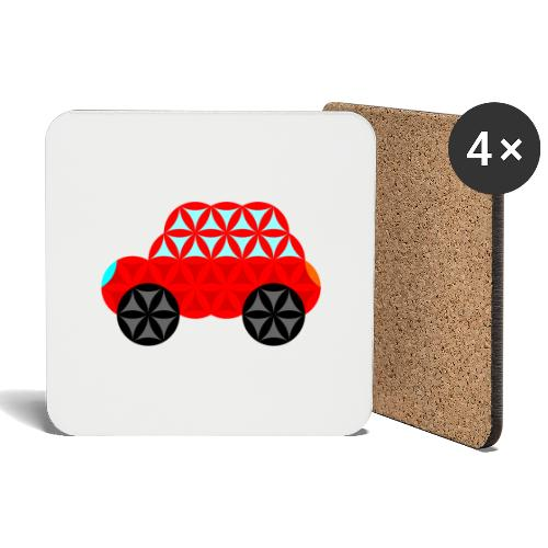 The Car Of Life - M01, Sacred Shapes, Red/R01. - Coasters (set of 4)