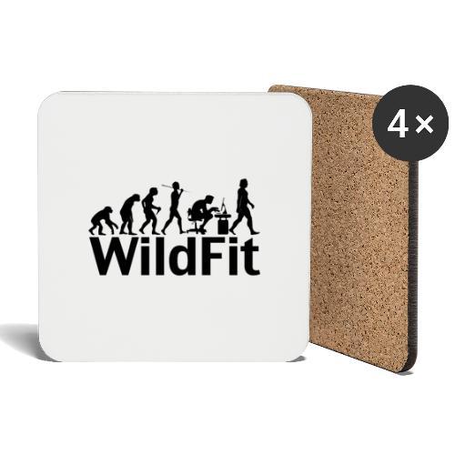 WildFit Logo Evolution in Schwarz - Untersetzer (4er-Set)