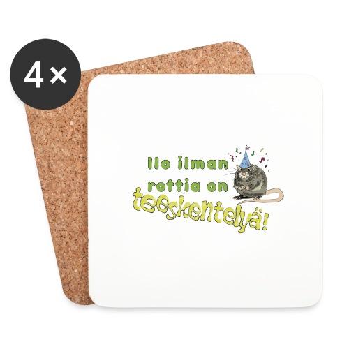 Ilo ilman rottia - kuvallinen - Lasinalustat (4 kpl:n setti)