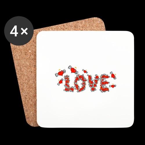 Flying Hearts LOVE - Glasbrikker (sæt med 4 stk.)