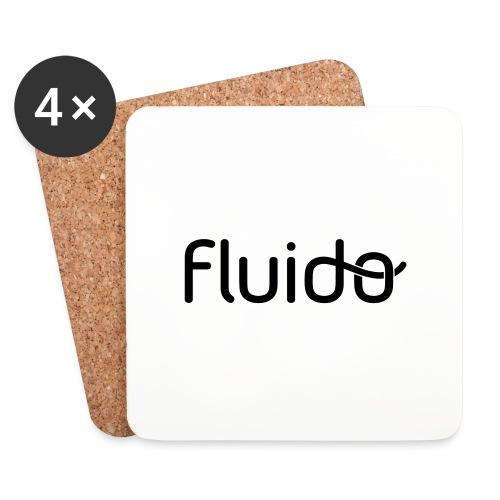 fluidologo_musta - Lasinalustat (4 kpl:n setti)