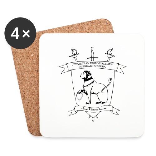 Naisten t-paita, musta logo - Lasinalustat (4 kpl:n setti)