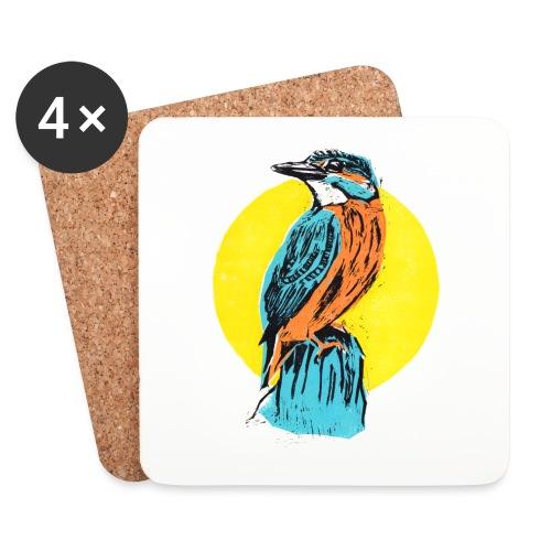 Linocut Kingfisher - Untersetzer (4er-Set)