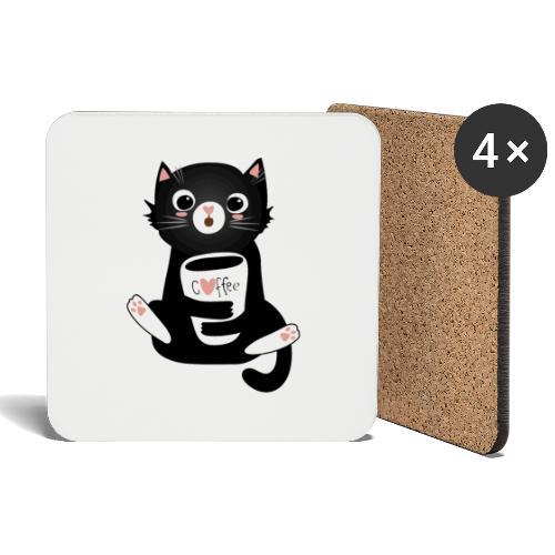 Katze schwarz Kaffee Miau Mieze Geschenk lustig - Untersetzer (4er-Set)