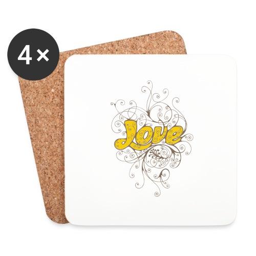 Scritta Love con decorazione - Sottobicchieri (set da 4 pezzi)