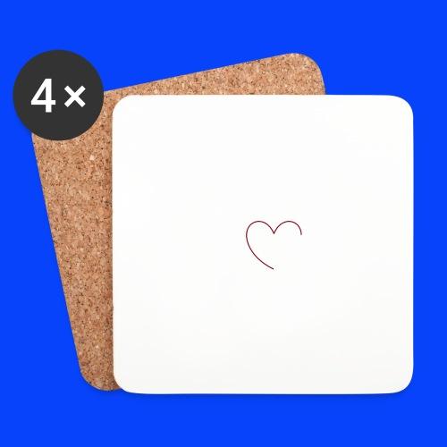 t-shirt bianca con cuore - Sottobicchieri (set da 4 pezzi)