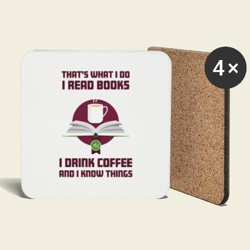 Buch und Kaffee, dunkel - Untersetzer (4er-Set)
