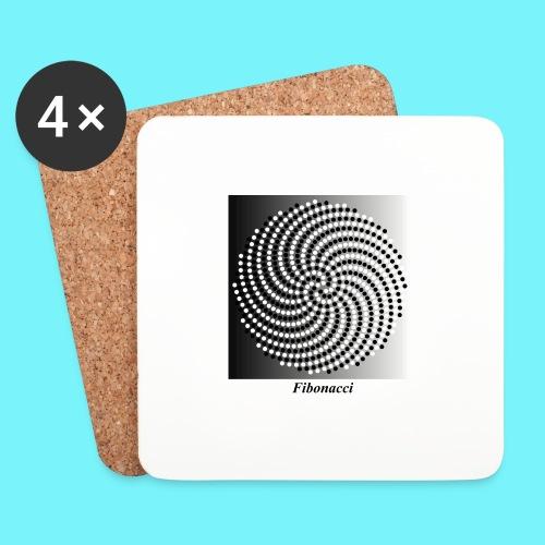 Fibonacci spiral pattern in black and white - Coasters (set of 4)