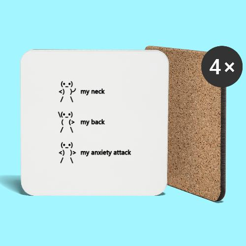 neck back anxiety attack - Coasters (set of 4)
