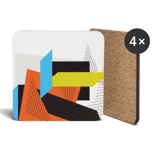 Vintage shapes abstract - Coasters (set of 4)