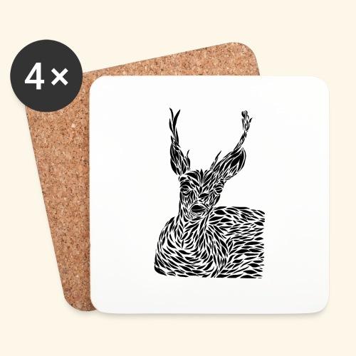 deer black and white - Lasinalustat (4 kpl:n setti)