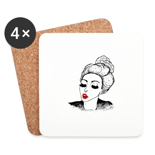 Vintage Retro Girl Kiss message - Coasters (set of 4)