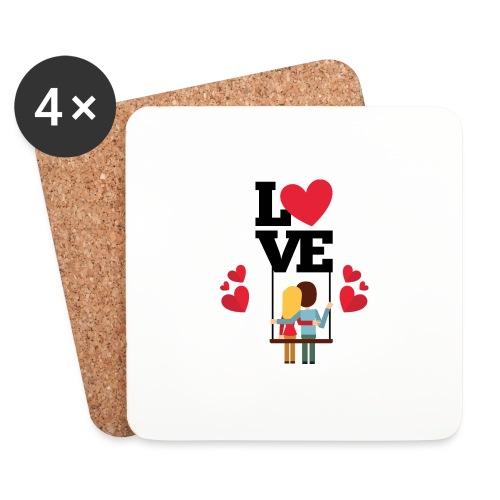 Love couple t-shirt - Dessous de verre (lot de 4)