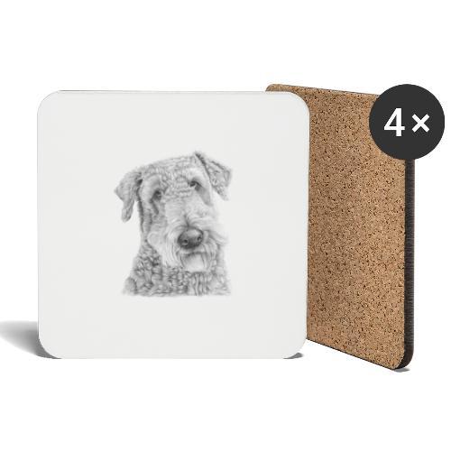 airedale terrier - Glasbrikker (sæt med 4 stk.)