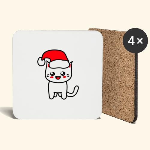 Kawaii Kitteh Christmashat - Untersetzer (4er-Set)