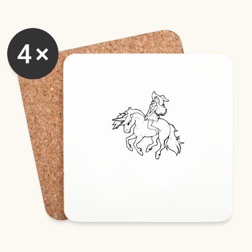 Monter une sorcière sexy sur une licorne. - Dessous de verre (lot de 4)