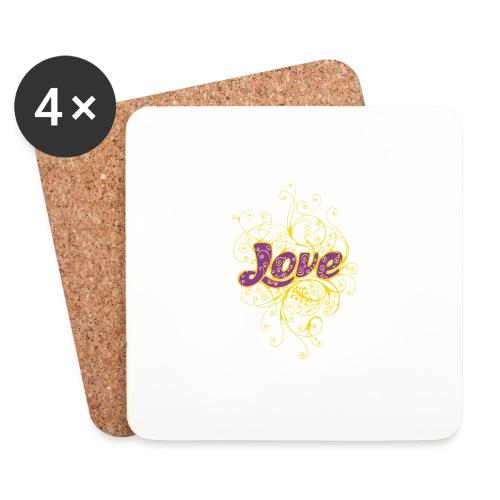 LOVE VIOLA CON DECORI - Sottobicchieri (set da 4 pezzi)