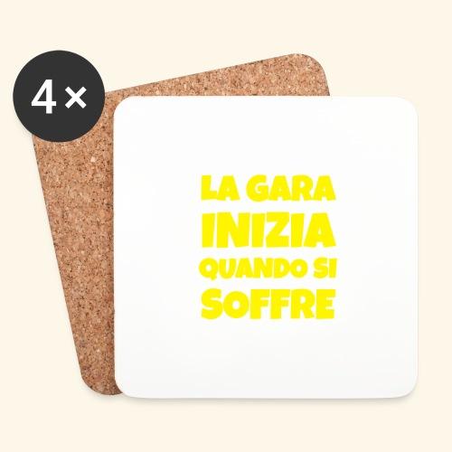 Frase Ironica - La Gara Inizia - FLAT - Sottobicchieri (set da 4 pezzi)
