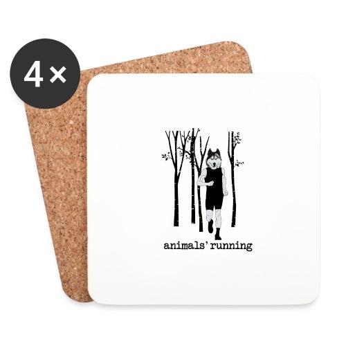 Loup running - Dessous de verre (lot de 4)