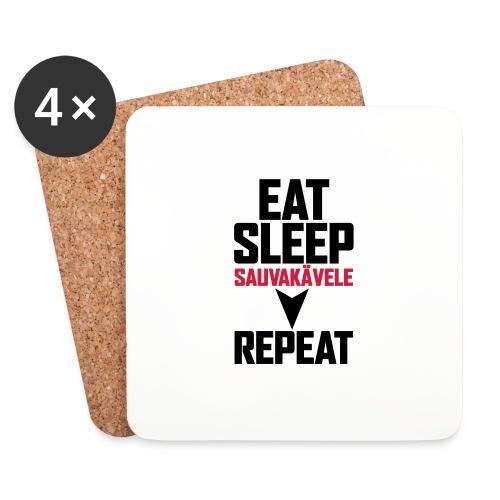 Eat, sleep, sauvakävele, repeat - Lasinalustat (4 kpl:n setti)