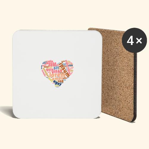 Lorem Ipsum Heart - Coasters (set of 4)