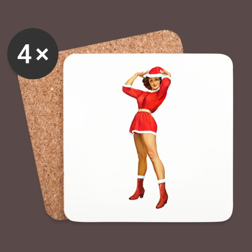 Vintage pin up girl - Happy Holidays! - Sottobicchieri (set da 4 pezzi)