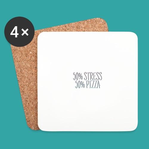 50% stress 50% pizza - Coasters (set of 4)