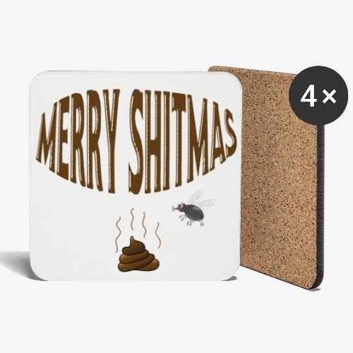Foute kerst Merry Shitmas drol en strontvlieg - Onderzetters (4 stuks)
