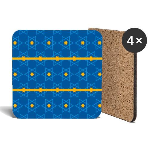 Magen david azul con rayas amarillas - Posavasos (juego de 4)