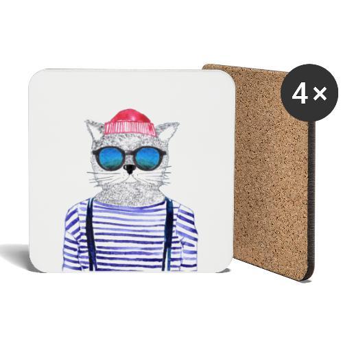 Berlin Hipster Cat - Untersetzer (4er-Set)