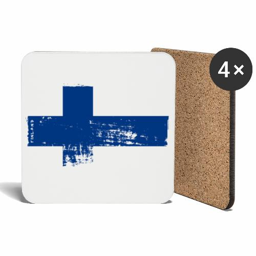 Suomen lippu, Finnish flag T-shirts 151 Products - Lasinalustat (4 kpl:n setti)