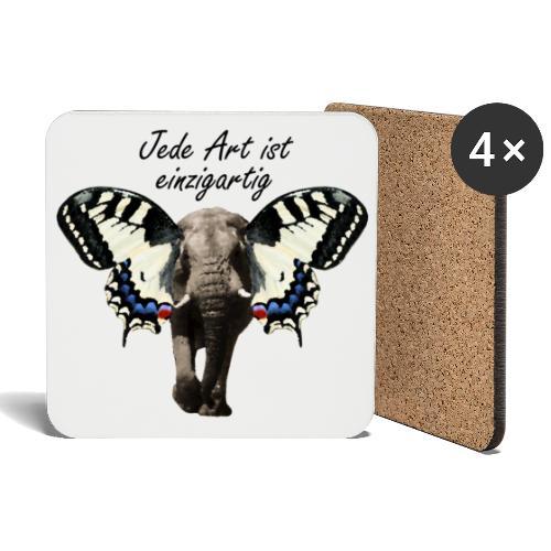 Elefant I Schmetterling - Untersetzer (4er-Set)