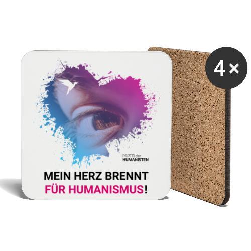 Mein Herz brennt für Humanismus! - Untersetzer (4er-Set)