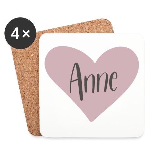 Anne - hjärta - Underlägg (4-pack)