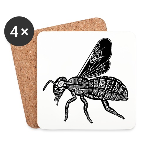 Skelett Biene - Onderzetters (4 stuks)